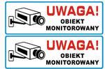 NAKLEJKA, NAKLEJKI, OBIEKT MONITOROWANY, 25 cm x 8,5 cm, KOMPLET 2 SZT w sklepie internetowym Mdh-system.pl