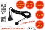 Przedłużacz elektryczny uniwersalny ogrodowy - 2 mb - WS OE 02 / 02 / 1.5 / K - ELMIC czarny H05VV-F w sklepie internetowym  elmic