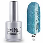 Lakier hybrydowy Glitter Turquoise 47 - Niebieski \ 47 Glitter Turquoise [pol] w sklepie internetowym em-nail.pl