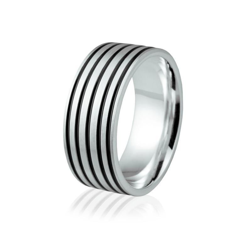 516d4eb111 Obrączka srebrna męska z czarną emalią - wzór Ag-112 w sklepie internetowym  Eminence. Powiększ zdjęcie