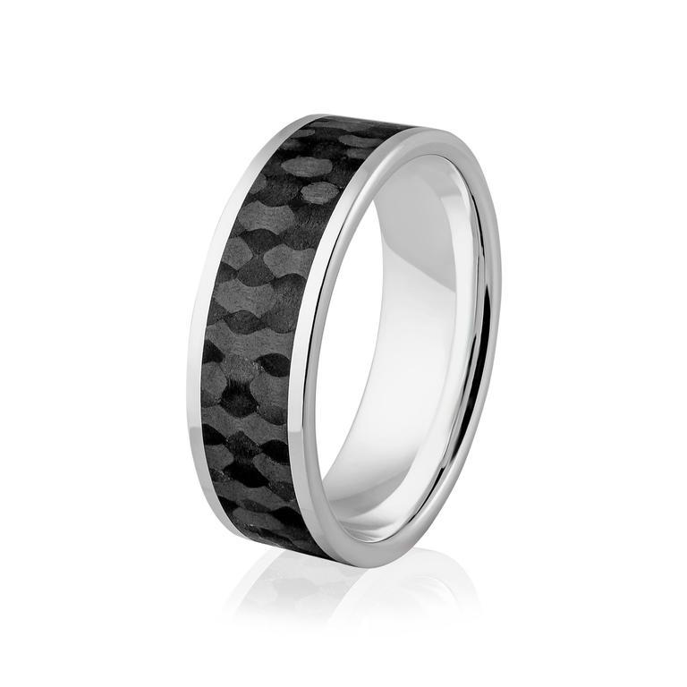 99148d35fc Obrączka srebrna męska z karbonem - włóknem węglowym - wzór Ag-383 w  sklepie internetowym. Powiększ zdjęcie