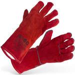 Rękawice spawalnicze ochronne robocze ze skóry bydlęcej czerwone w sklepie internetowym Hurtownia Przemysłowa