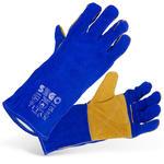 Rękawice spawalnicze ochronne robocze ze skóry bydlęcej niebieskie w sklepie internetowym Hurtownia Przemysłowa