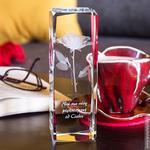 RÓŻA 3D Namiętności ♥ personalizowana statuetka 3D wysoka • GRAWER 3D w sklepie internetowym Kryształy3D.pl