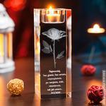 RÓŻA 3D Namiętności ♥ wysoki personalizowany świecznik • GRAWER 3D w sklepie internetowym Kryształy3D.pl