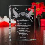 Pamiątka Ślubu Gołąbki Miłości 3D z Twoją dedykacją • GRAWER 3D w sklepie internetowym Kryształy3D.pl