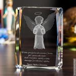 Aniołek Stróż 3D z Twoją dedykacją • GRAWER GRATIS w sklepie internetowym Kryształy3D.pl
