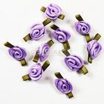 Różyczki satynowe FIOLETOWY zielony (10szt) w sklepie internetowym Craft Style