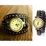 Stylowy zegarek analogowy potrójna skórzana bransoleta z nitami (czarna) w sklepie internetowym Fantaste