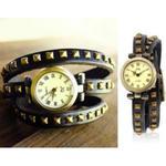 Stylowy zegarek analogowy potrójna skórzana bransoleta nity (czarna) w sklepie internetowym Fantaste