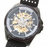Nowoczesny elegancki i stylowy zegarek męski mechaniczny automatyczny szkieletowy na rękę (czarno złoty) w sklepie internetowym Fantaste
