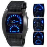 Zegarek sport led w stylu deski rozdzielczej samochodu data unisex (czarny) w sklepie internetowym Fantaste
