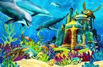 Fototapeta dla dzieci delfiny 30a w sklepie internetowym Deco-Wall.pl