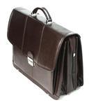 Trzykomorowa teczka ze skóry naturalnej, ciemny brąz, na laptopa + mini biuro w sklepie internetowym ZAFIRA