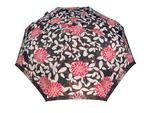 Bardzo mocna automatyczna parasolka damska marki Parasol, czarna w kwiaty w sklepie internetowym Portfele.net