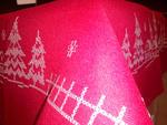 Obrus świąteczny Anna 85x85 czerwony z haftem Boże Narodzenie Eurofirany w sklepie internetowym Karo.waw.pl