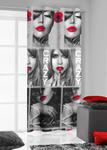 Zasłona gotowa na przelotkach 140x250 Kiss 4 czerwone usta Eurofirany w sklepie internetowym Karo.waw.pl