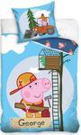 Pościel bawełniana 160x200 C Świnka Peppa George budowlaniec PP8015 8528 w sklepie internetowym Karo.waw.pl