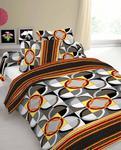 Pościel z kory 140x200 wzór 774E Geometria Koła i Kwadraty Czarno-brązowo-szaro-żółte w sklepie internetowym Karo.waw.pl