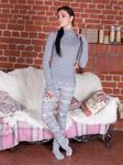 Piżama damska spodnie długie 560 rozmiar M leginsy szare wzór norweski w sklepie internetowym Karo.waw.pl