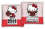 Poszewka bawełniana 40x40 Hello Kitty Flower Happines białe czerwone kropki w sklepie internetowym Karo.waw.pl