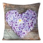 Poszewka dekoracyjna 40x40 Flora brązowa serce fioletowe Eurofirany w sklepie internetowym Karo.waw.pl