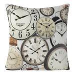 Poszewka dekoracyjna 45x45 Vintage Zegary brązowe beżowe Eurofirany w sklepie internetowym Karo.waw.pl