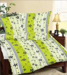 Pościel z kory 140x200 wzór RS010/1 Kwiaty paski zielone białe szare na guziki 100% bawełna gruba w sklepie internetowym Karo.waw.pl