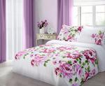 Pościel satynowa 200x220 Classic Clair malowane różowe kwiaty na białym tle w sklepie internetowym Karo.waw.pl