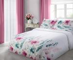 Pościel satynowa 200x220 Classic Mandi malowane kwiaty różowo zielono szary w sklepie internetowym Karo.waw.pl