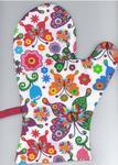 Rękawice kuchenne 17x27 z magnesem 2 szt Łowickie motyle kolorowe na białym tle w sklepie internetowym Karo.waw.pl