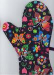 Rękawice kuchenne 17x27 z magnesem 2 szt Łowickie motyle kolorowe na czarnym tle w sklepie internetowym Karo.waw.pl