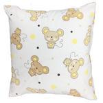 Poszewka bawełniana 50x60 1188E Myszki beżowe groszki żółte biała w sklepie internetowym Karo.waw.pl