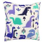 Poszewka bawełniana 50x60 1195E biała Dinozaury niebieskie szafirowe turkusowe w sklepie internetowym Karo.waw.pl