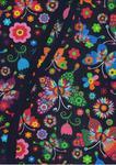 Fartuch kuchenny bawełniany 75x62 Łowicki motyle kolorowe na czarnym tle w sklepie internetowym Karo.waw.pl