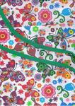 Fartuch kuchenny bawełniany 75x62 Łowicki motyle kolorowe na białym tle w sklepie internetowym Karo.waw.pl
