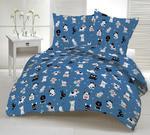 Pościel bawełniana 200x220 1243E niebieska psy białe czarne czerwone 18b w sklepie internetowym Karo.waw.pl
