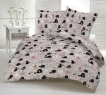Pościel bawełniana 200x220 1239E szara koty myszki serca krawaty beżowe 17c w sklepie internetowym Karo.waw.pl