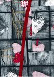 Fartuch kuchenny bawełniany 75x62 617E 825N serca szaro różowe w sklepie internetowym Karo.waw.pl