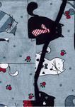Fartuch kuchenny bawełniany 75x62 17A szara koty myszki krawaty czerwone w sklepie internetowym Karo.waw.pl