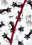 Fartuch kuchenny bawełniany 75x62 biała Koty białe czarne w muszce czerwon w sklepie internetowym Karo.waw.pl