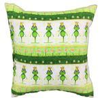 Poszewka bawełniana 50x60 1224E biała żabki zielone z koroną w sklepie internetowym Karo.waw.pl
