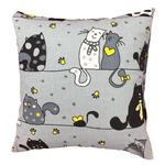 Poszewka bawełniana 40x40 1238E szara koty myszki serca krawaty żółte 17b w sklepie internetowym Karo.waw.pl