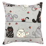 Poszewka bawełniana 40x40 1237E szara koty myszki serca krawaty czerwone 17a w sklepie internetowym Karo.waw.pl