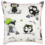 Poszewka bawełniana 40x60 1247E biała sowy białe czarne parasolki zielone 19d w sklepie internetowym Karo.waw.pl