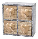 Pudełko dekoracyjne 20x8x20 Heart 2 drewniane szare z szufladkami serca w sklepie internetowym Karo.waw.pl