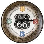Zegar ścienny 51x5 Moto 01 metalowy brązowy Route 66 Mother Road droga matka Eurofirany w sklepie internetowym Karo.waw.pl