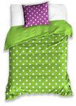 Pościel bawełniana 160x200 zielona fioletowa grochy białe 5020 w sklepie internetowym Karo.waw.pl