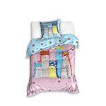 Pościel bawełniana 160x200 Koty Sweet Dreams różowa niebieska CAT171001 5266 w sklepie internetowym Karo.waw.pl