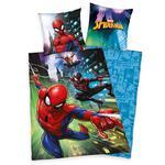 Pościel bawełniana 140x200 Spiderman 8925 Człowiek Pająk niebieska poszewka 70x90 w sklepie internetowym Karo.waw.pl